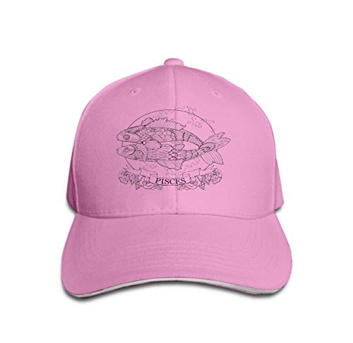 Unisex Women Cotton Adjustable Baseball Caps Low Profile Washed Dad Hats Pisces Zodiac Sign Coloring Book Stencil Black White Lines lace Pattern