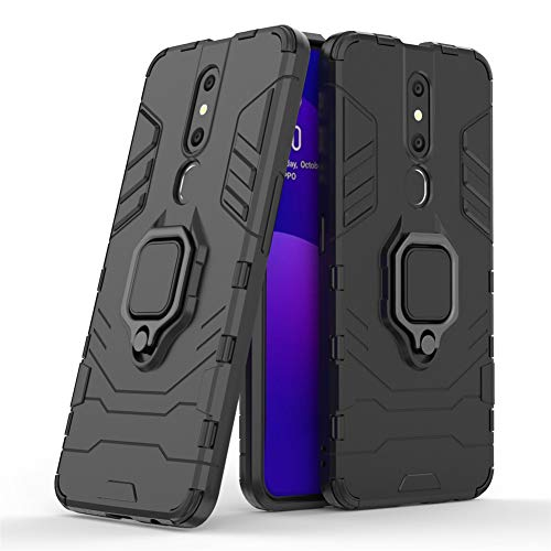 LuluMain Compatible with Oppo F11 Pro Case, Metal Ring Grip Kickstand Shockproof Hard Bumper (Works with Magnetic Car Mount) Dual Layer Rugged Cover for Oppo F11 Pro (Black)