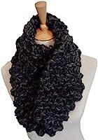 Womens Charcoal Grey Outlander Chunky Knit Merino Wool Infinity Scarf