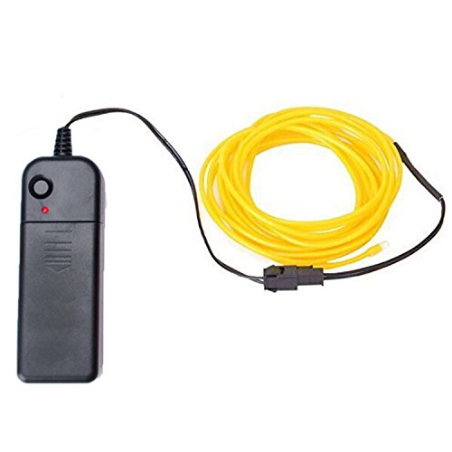 EL Wire 5M(16.4ft)Neon Beleuchtung Draht Lichtschlauch Leuchtschnur Kabel Wire für Partybeleuchtung Weihnachtsfeiern Disco Party Kinder Halloween Kostüm Kleidung(Gelb)