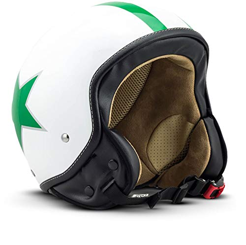 "SOXON® SP-301 Star ""Green"" · Jet-Helm · Motorrad-Helm Roller-Helm Scooter-Helm Moped Mofa-Helm Chopper Retro Vespa Vintage Pilot Biker Helmet Brille · ECE 22.05 Schnellverschluss Tasche S (55-56cm)"
