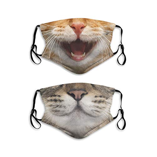 2Pcs Funny Cat with Tongue Smile Face Mask with Filter Pocket Washable Face Bandanas Balaclava Breathable Print Reusable Fabric Masks for Men Women