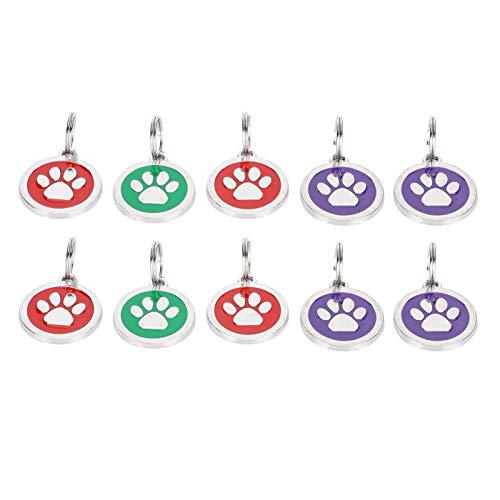 Pet Name Label, leichtes Haustier Identity Hanging Tag, dauerhafte Fußabdruck Form für Hund Katze Haustier(Random colors for footprints)