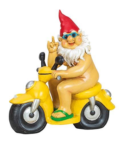 Lustiger XL Gartenzwerg auf Mofa 28 x 26 cm Zwerg Geschenkidee Garten Motorrad Dekoration