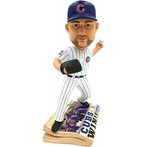 FOCO MLB Chicago Cubs Lester #34 2016 World Series Champions Newspaper Base Bobble, Team Color, One Size
