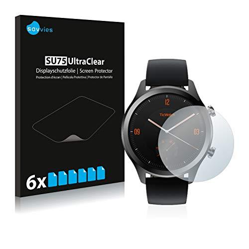 Savvies 6X Schutzfolie kompatibel mit Mobvoi Ticwatch C2 / E2 Bildschirmschutz-Folie Ultra-transparent
