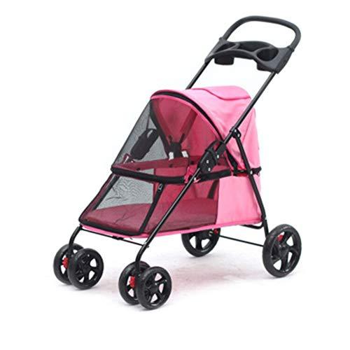 ZH1 huisdier tas vierwielige huisdier kinderwagen, met opbergtas ademend mesh venster en 2 uitgangen lichtgewicht opvouwbare multifunctionele hondenwagen hond rolstoel huisdier fietsen, roze