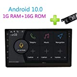 Double Din Car Radio Android 10.0 System 2 Din Car Stereo with Backup Camera 7Inch Capacitive Touchscreen GPS Navi Quad Core 1GB RAM+16GB ROM Indash Support BT/FM/AM/Wifi/4G/DAB+/Screen Mirror/Cam-in