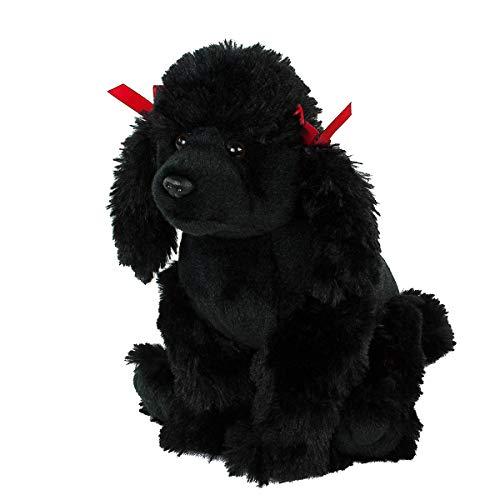 Teddys Rothenburg Kuscheltier Pudel sitzend schwarz 27 cm mit Schleifen Plüschhund