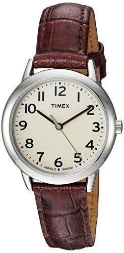 Timex Relógio feminino Easy Reader com pulseira de couro de 30 mm, Croco/creme marrom,