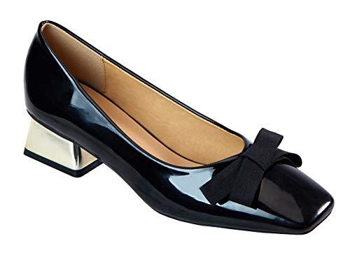 C.Paravano Vrouwen Ballet Flats Bowtie vierkante teen pomp schoenen met glanzend lakleer