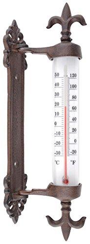 Esschert Design - Termometro da Finestra in ghisa, Marrone, 5,5x 9,4x 29,5, TH84