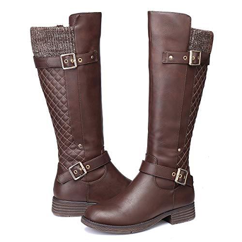 Camfosy Bottes Hautes Femme Hiver, Bottes Cavalière en Cuir à Talons Plats avec Fourrure Chaussures Fourrées Boots de Neige pour Mollet Large,38 EU,Marron
