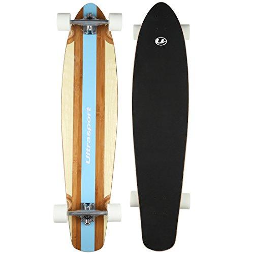 Ultrasport - Longboard, como monopatín, tabla de madera robusta de bambú...