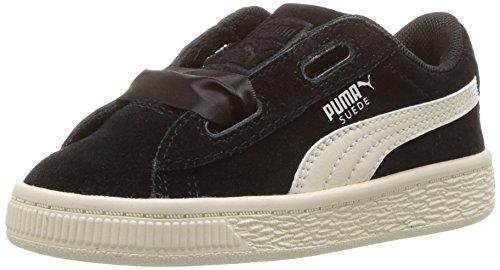 PUMA Kids' Suede Heart Sneaker, Black-Whisper White, 12 M US Little Kid
