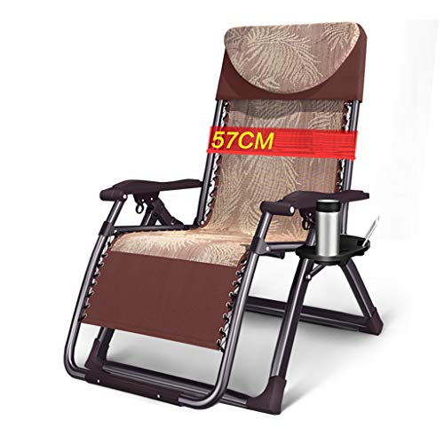 JHNEA Klappbarer Liegestuhl, Liege Freizeitliege Gartenliege Sonnenliege Atmungsaktiv Liegestuhl Garten Liegestuhl mit Kopfstütze Strandliege für EIN Sonnenbad,Brown_180x72x40cm/71x28x16in