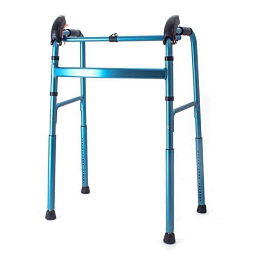 ZXL Walker, Downhill Climbing Walking Frame, Walker für Behinderte für ältere Menschen, automatische Höhenverstellung, drehbare Fußpolster, Aluminiumfalten mit einem Knopf, Belastung 220 lbs