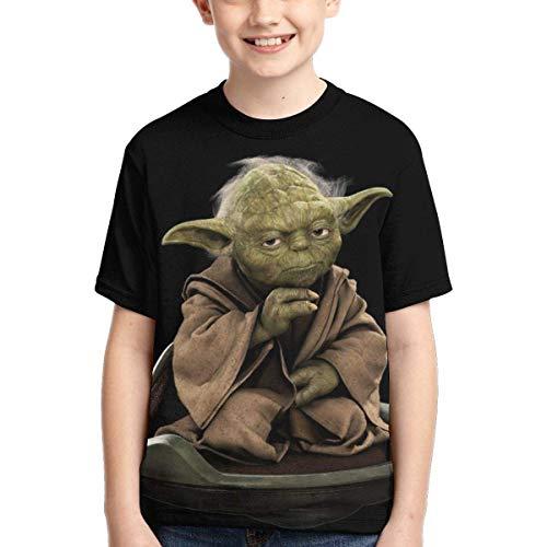 YYTY Divertente Y-Oda T-Shirt Nera Ragazzi Manica Corta O-Collo Traspirante Asciugatura Rapida T-Shirt Moda per Bambini Casual T-Shirt Gioventù