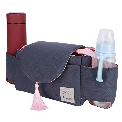 Organizador de cochecito de bebé con división interna movible de tela Oxford, ligero, portavasos de paja, llaves, carteras para guardar pañales (borla rosa)
