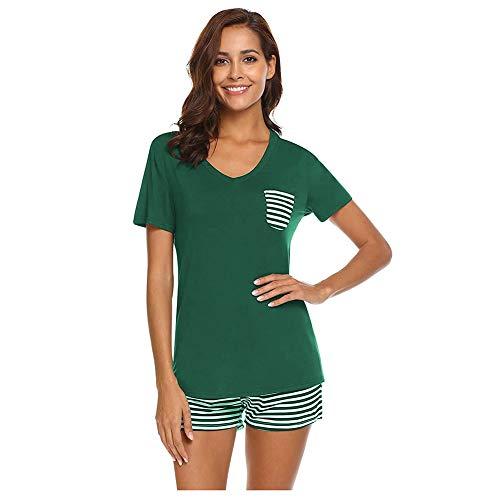 Pijamas Conjunto Interior Mujer 2 Piezas Set Pantalones Cortos a Rayas y Cuello en V Camiseta Manga Corta Chandal Deporte Señora Ropa de Dormir Camisero