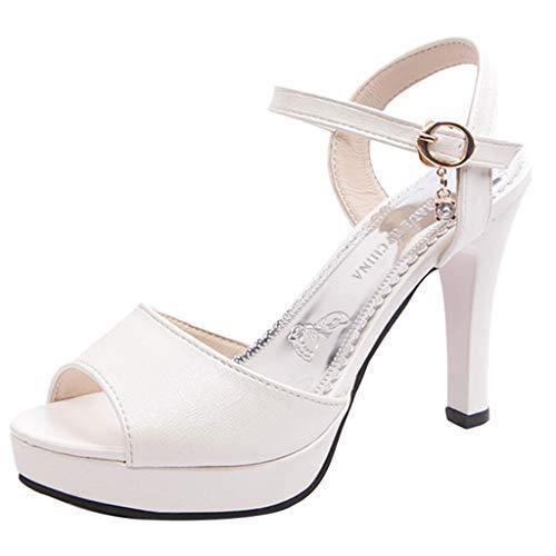 Rawdah Sandalias Mujer Verano Tacon Plataformas Fiesta De Vestir Chanclas Moda Mujer Sexy Ronda Toe Zapatos Una Palabra Hebilla Alto Talón Antideslizante Sandalias
