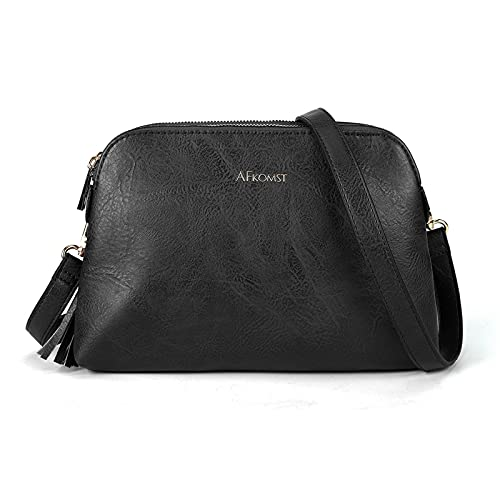 Crossbody Bags for Women Small Purse Boho and Dome Cross Body Handbags with Double Zip Pockets and Tassel,Lightweight,Black