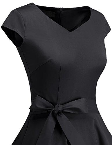 Dresstells Dresstells Damen Vintage 50er Cap Sleeves Rockabilly Swing Kleider Retro Hepburn Stil Cocktailkleid Black S