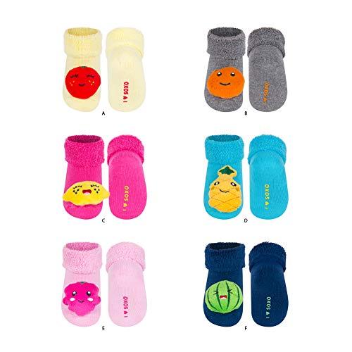soxo Calcetines de Color para Bebe | Paquete de 6 | Talla 16-18 | para Niñas y Niños de 0 a 12 Meses | Calcetines Sonajero Animales de Algodón | Antialérgicos y no Irritan la piel