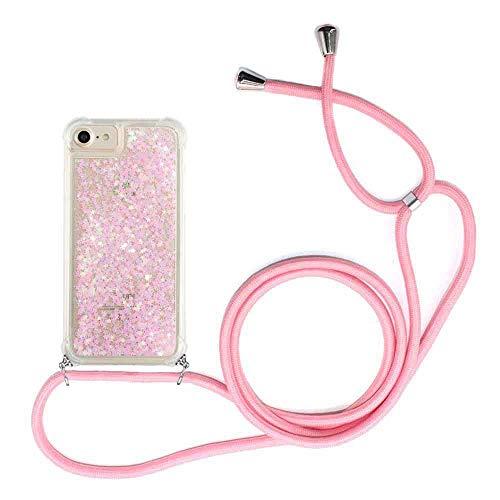 Funda con Cuerda para iPhone 6/6S Carcasa Bling Glitter Liquida Cordón, [Moda y Practico] [ Anti-Choque] [Anti-rasguños] Carcasa ,Cuerda para Colgar en - Case y Correa