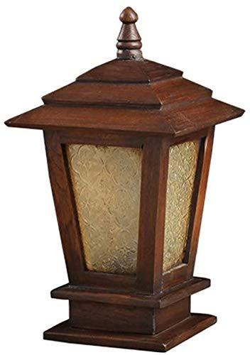 Zhangl Antique Vintage Brown en Bois Massif extérieur Paysage Colonne Lampe en Verre IP55 Lanterne étanche Rétro Poteau en Bois Pilier Lumière Villa Cour Patio Pont clôture Lampe de Table d'éclairage