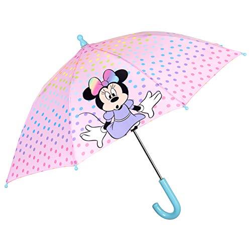 Paraguas Niña Minnie Fantasía de Lunares Multicolores - Paraguas Disney Rosa Resistente Corta Viento - Paraguas Colorado Niñas 3/6 años - Diámetro 76 cm - Perletti
