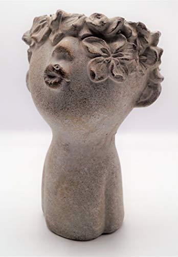 Zement Pflanzkopf Rosalia mit Blütenkranz und Kussmund Pflanztopf Garten Deko