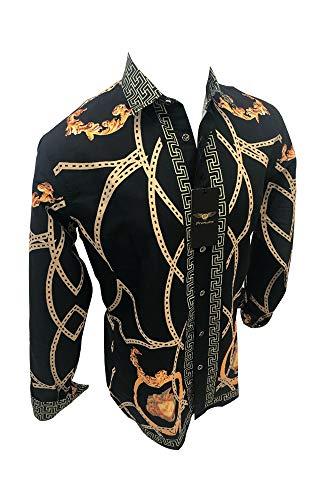 Men's Premiere Designer Fashion Dress Shirt Casual Shirt Woven Short Sleeve Button Down Shirt (Large, Black & Gold Chain)