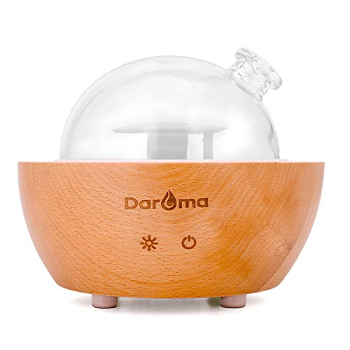 Glass Essential Oil Diffuser, Daroma 200ml Real Wood Base, the 2020 Upgrade. Ultrasonic Aromatherapy Scent Air Nebulizing Room Humidifier Home Office Gift