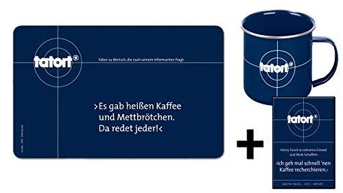 Tatort Frühstücks-Set Frühstücksbrettchen + Kaffeetasse (+ Funck Kühlschrankmagnet)