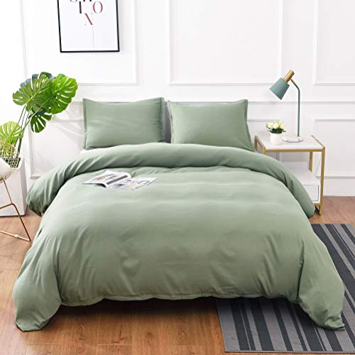 M&Meagle 2 Pieces Green Duvet Cover Set with Zipper Clousure,100% Stone Washed Process Microfiber,Ultra Soft and Easy Care,Simple Style Bedding Set-Twin Size(1 Duvet Cover 1 Pillowcase)