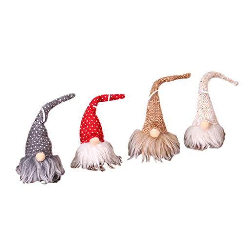 Sayla 4er Weihnachten Deko Wichtel mit LED 20 cm Hoch, Schwedischen Weihnachtsmann Santa Tomte Gnom, Skandinavischer Zwerg Geschenke für Kinder Familie Weihnachten Spielzeug Geschenk