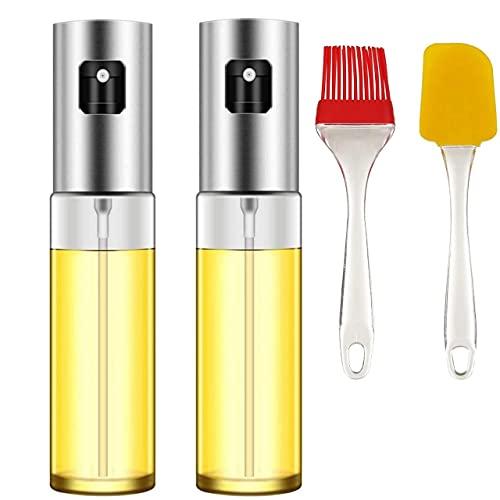 iDensic Olive Oil Sprayer Food-Grade Stainless Steel Glass Oil Spray Bottle Vinegar Bottle Oil Dispenser for Cooking, Salad, BBQ, Kitchen Baking, Roasting (Pack of 2) (Free Spatula)