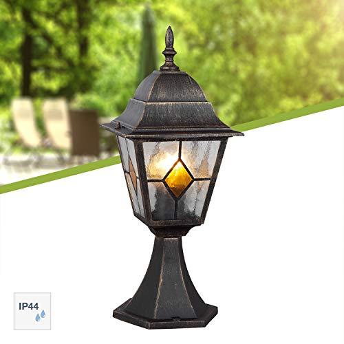Brilliant 43884/86 Jason Außensockelleuchte, Höhe 44 cm, 1-flammig, E27, maximal 60 W, LED geeignet, Alu-Druckguss/Glas, IP44, spritzwassergeschützt, schwarz/gold