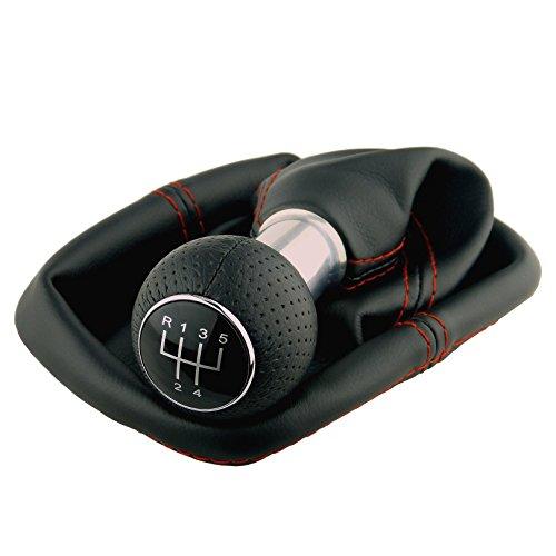 L & P Car Design L&P A0254-8 Schaltsack Schaltmanschette Schwarz Naht Rot Schaltknauf perforiert 5 Gang 12mm kompatibel mit VW Golf 2 II 3 III Polo 6N Passat 35i UVM. GTI Look Plug Play Ersatzteil