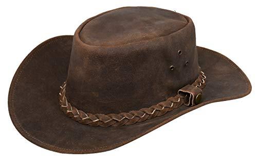Infinity Leather Sombrero Australiano de Estilo Unisex Vaquero Outback Marrón Cuero de Ante Bush S