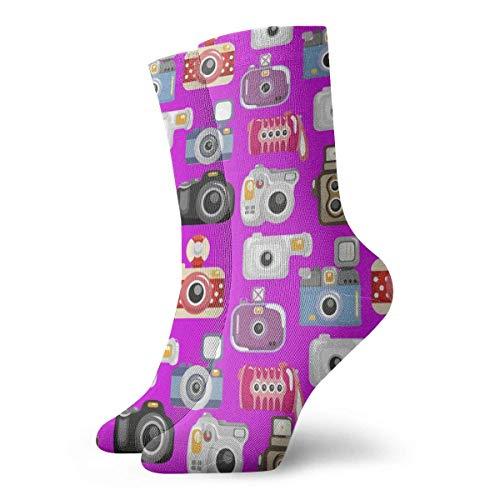Drempad Calcetines de Vestir Unisex Seamless Retro Camera Funny Polyester Crew Socks 11.8 Inch