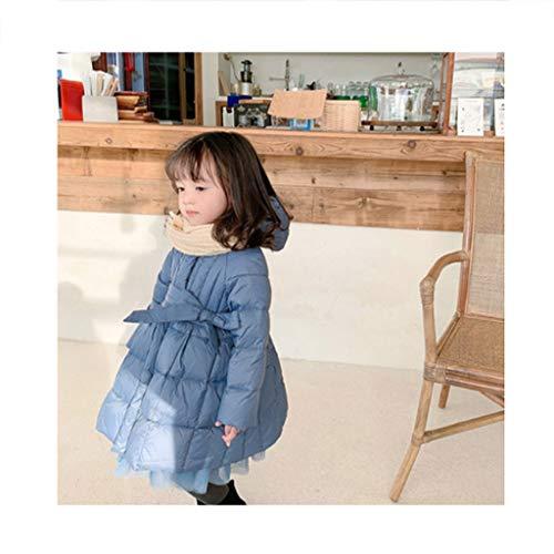 Bambini Giubbotto Piumino Piumino Cappuccio Leggero Lungo della Ragazza del Cappotto del Cappuccio di Inverno Pacchetto del Cappotto di Mezzanotta (Color : Blue, Dimensione : 100)