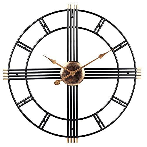 DIEFMJ Reloj de Pared Retro de 50 cm - Reloj de Pared Grande con Esqueleto de Metal Negro - Silencioso sin tictac - para Salones Cocinas Pubs