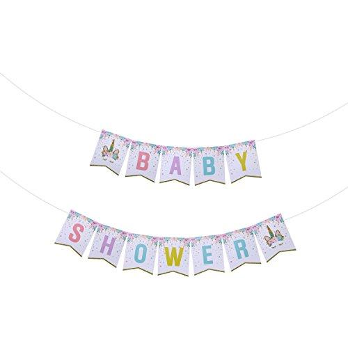 BESTOYARD Baby Dusche Papier Banner Fahnen Doppelschicht Einhorn Burgee Garland Decor für Party...