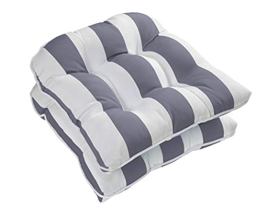 Ornavo Home Water Resistant Indoor/Outdoor Patio Decorative Stripe Tufted Wicker Chair Seat Cushion Pad - Set of 2 - Gray