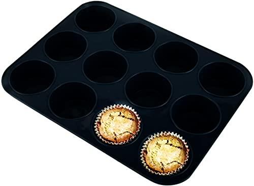 Voarge Blacha na muffinki z silikonu na 12 muffinek, silikonowa blacha do muffinek, babeczek, brownies, ciasto, pudding, forma do muffinek, nieprzywierająca forma do pieczenia, czarna
