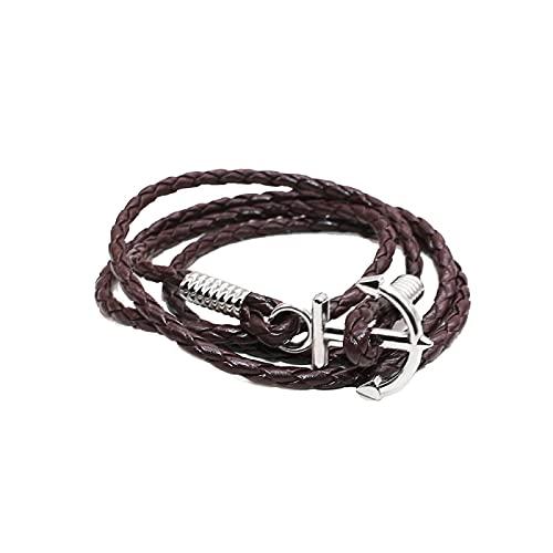 Shangwang - Pulsera trenzada de piel para hombre, pulsera trenzada para mujer, perla de madera, pequeñas joyas para hombres, MK-B12