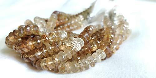 Perline di topazio imperiale naturale sfaccettate Rondelle perline/topazio imperiale naturale/topazio miele/topazio naturale/7 MM/20 CMs Strand