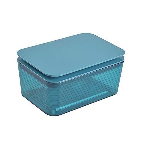 KAIGE Caja para toallitas húmedas, caja de almacenamiento de plástico, dispensador de toallitas húmedas, caja de papel con tapa, para casa y oficina (azul)